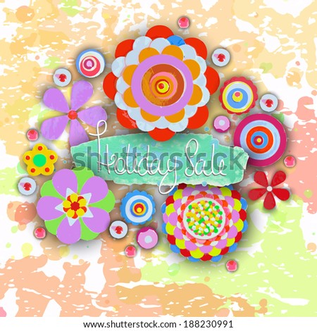 Holiday sale. Offer tag, motivational background. Discount. Flowers made of acrylic, Watercolor, handmade, from original canvas art. Grunge paint banner with brush stroke effect. 3d shadows. - stock vector