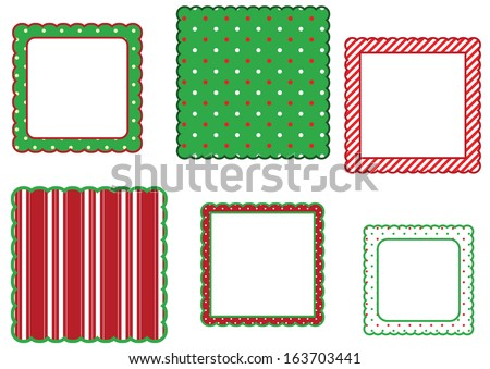Holiday Scalloped Edge Frame Set - stock vector