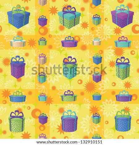 Holiday seamless background with a pattern of festive gift boxes and star. Eps10, contains transparencies. Vector - stock vector