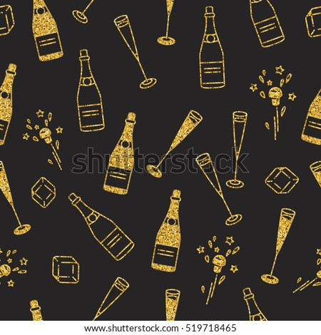 Holiday seamless pattern with cham and extracted cork. Glittery shining golden objects on black for holiday decorations. Flat colors only.