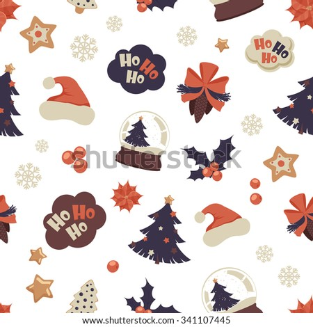 Holiday seamless pattern with fir tree,  gingerbread, cones, berries, speech clouds and other objects. Vector pattern for your Christmas and New Year cards design.