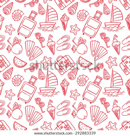 Holiday. Seamless pattern with summer symbols. Hand drawn illustration