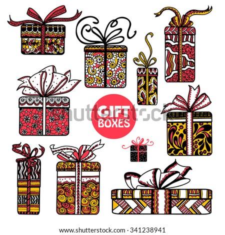 Holiday season presents and gifts boxes wrapped in colorful  paper  pictograms set doodle abstract isolated vector illustration - stock vector