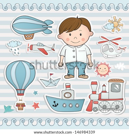 Holiday set for little boy. - stock vector