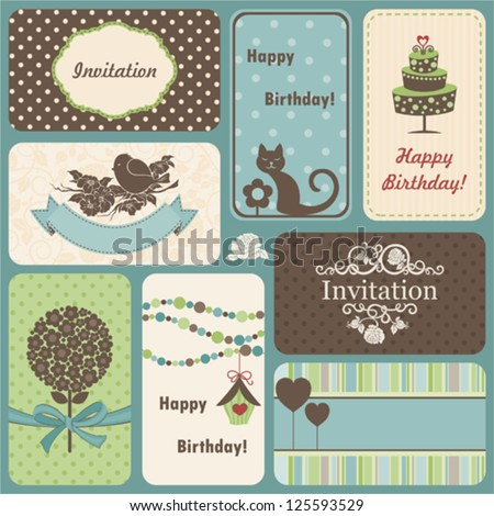 Holiday set of retro cards - stock vector