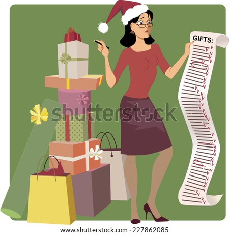 Holiday shopping. Stressed woman in a Santa hat crossing out names from a long Christmas shopping list, pile of gifts at her feet, vector cartoon - stock vector