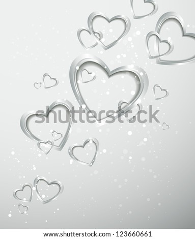 Holiday silver background with hearts - stock vector