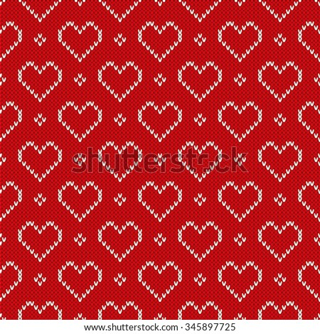 Holiday Sweater Design. Valentine's Day Seamless Knitted Pattern - stock vector