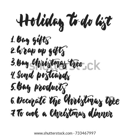 Holiday To Do List   Hand Drawn Lettering Inscription For Christmas And New  Year Checklist  Christmas Preparation Checklist