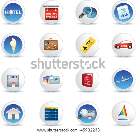 holiday travel and vacation icons illustrations on white - stock vector