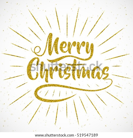 "Holiday vector illustration. Lettering composition with light rays. ""Merry Christmas"". Gold lettering design with confetti pattern."