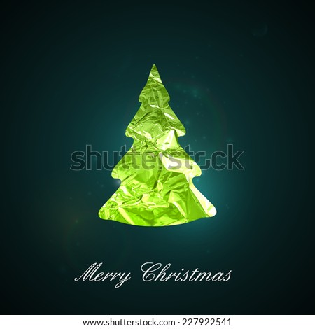 Holiday vector illustration of a green metallic foil Christmas tree on the dark vivid background with sparkles. Merry Christmas and Happy New Year. Invitation, poster or postcard design - stock vector