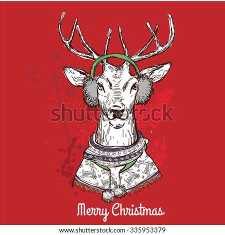 holiday vector of black ink hand drawn comic animal sketch of funny Christmas deer head and antlers, humorous red santa claus hat illustration drawing isolated on white for fun Christmas card humor - stock vector