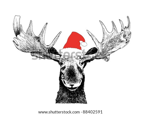 holiday vector of black ink hand drawn comic animal sketch of funny Christmas moose head and antlers, humorous red santa claus hat illustration drawing isolated on white for fun Christmas card humor - stock vector