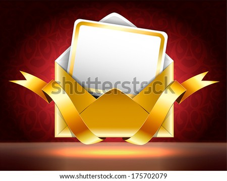 Holiday vip invitation. Horizontal vector illustration.  Golden paper envelope with a postcard and ribbons on black and red background with patterns. - stock vector