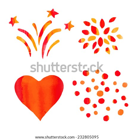 Holiday watercolor red icons sketch set. Heart, fireworks, stars, flower, drops isolated on a white background - stock vector