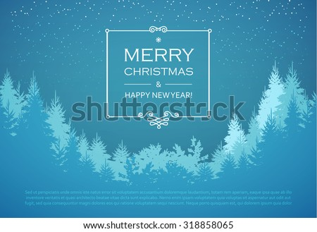 Holiday winter landscape background with coniferous forest. Christmas & New Year design. Elegant vintage card. Vector illustration. - stock vector
