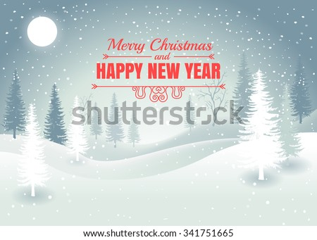 Holiday winter landscape background with winter tree. Merry Christmas and Happy New Year. Vector.  - stock vector