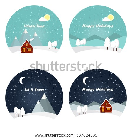 Holiday winter landscape background with winter tree. Snowfall. Winter landscape with a timber house. Winter village night background. Greeting card, Christmas and new year card. - stock vector