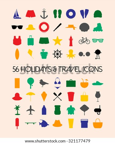 Holidays and travel icons set - stock vector