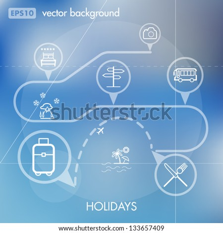 Holidays and Travels Creative Icon Background Concept - stock vector