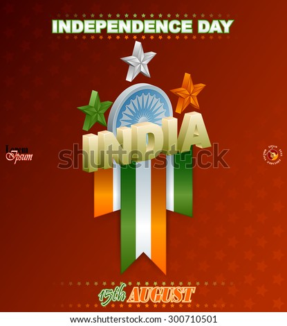 Holidays background for National Celebration of India; Three dimensions arrangement with orange, white and green stars and Ashoka wheel for fifteenth of August, Indian Independence Day - stock vector
