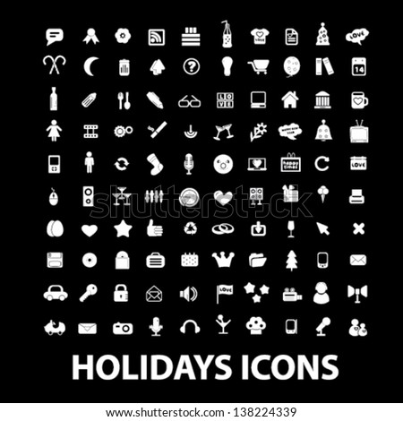 holidays, celebration, white isolated icons, signs on black background for design template, vector set