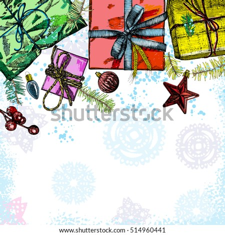 Holidays design template. Christmas and New Year mock up for invitation text. Vector.