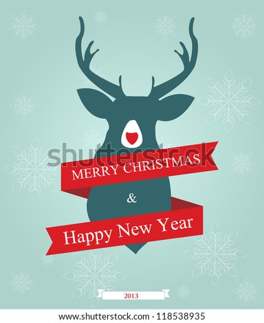Holidays greeting with ribbon and deer on snowflake background