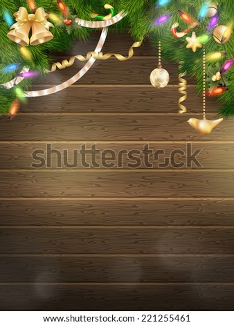 Holidays illustration with Christmas decor. EPS 10 vector file included - stock vector