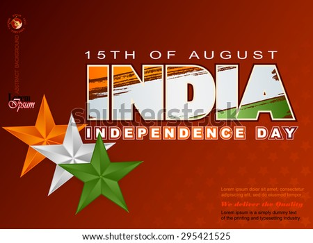 Holidays layout template with National flag colors of India; Orange, white and green stars on grunge national flag colors for fifteenth of August, Indian Independence Day - stock vector