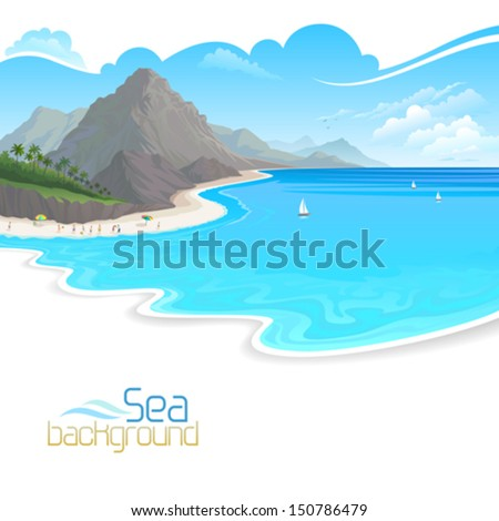 Holidays on  Beach and Hills  - stock vector
