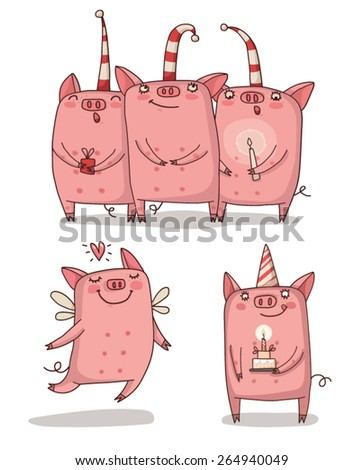 holidays. Pigs set - stock vector