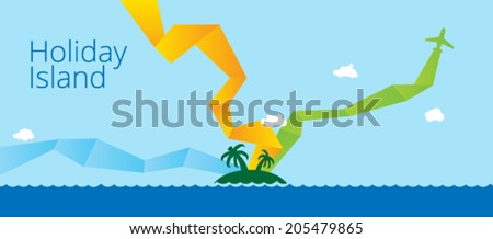 Holidays sea landscape. Vector flat illustration. - stock vector