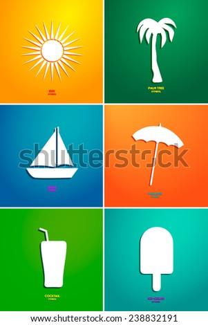 Holidays vector set. Vacation symbols. - stock vector