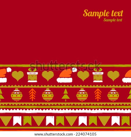 Holidays vintage Christmas seamless boarders background. New year invitation card with abstract silhouette ornament. Winter repeating pattern. Space for text  - stock vector