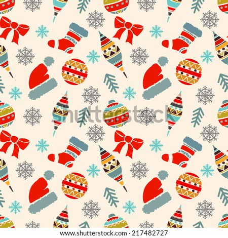 Holidays Vintage Christmas Seamless Pattern Abstract Silhouette New Year Ornament Repeating Print Background
