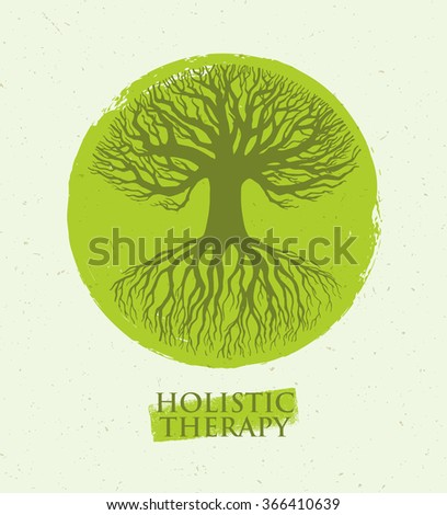 Holistic Therapy Tree With Roots On Organic Paper Background. Natural Eco Friendly Health Care Vector Concept - stock vector