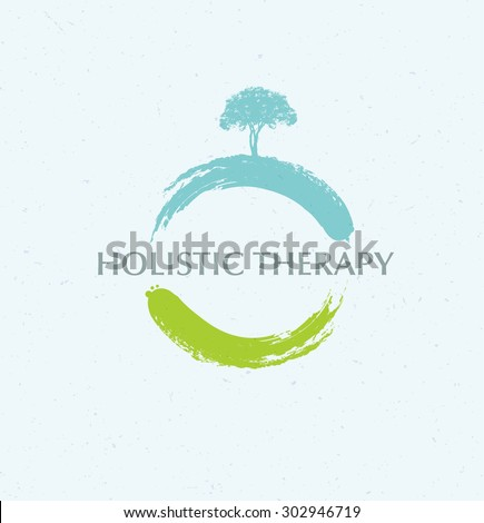 Holistic Therapy Zen Tree Creative Vector Concept On Organic Background - stock vector