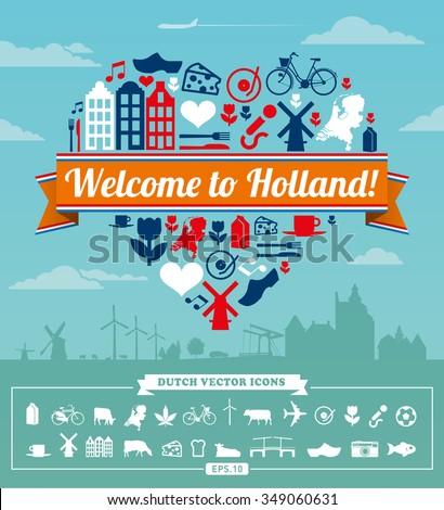 Holland Dutch vector set - stock vector