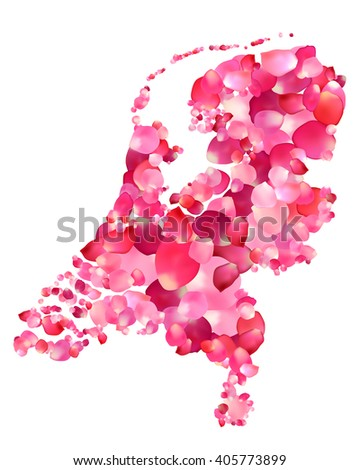 Holland. Silhouette of Netherlands map of rose petals