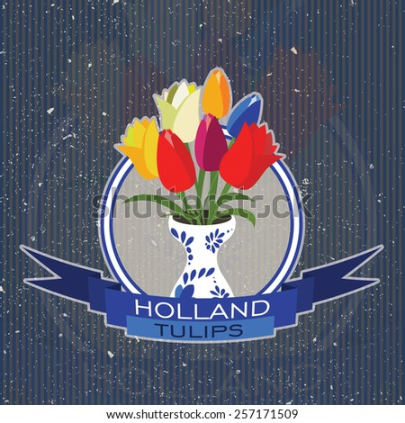 Holland tulips sticker and ribbon - stock vector