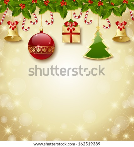 Holly and candy canes with traditional Christmas decoration elements - stock vector