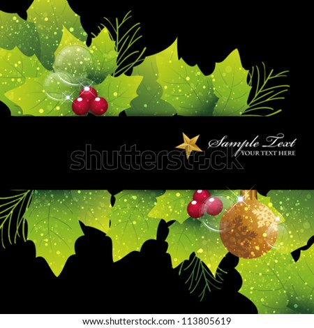 holly background - stock vector