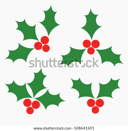 Holly berries Christmas symbols. Vector illustration