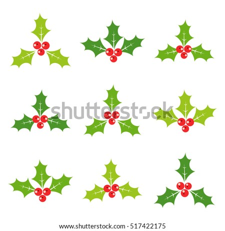 Holly berries set of icons. Vector illustration