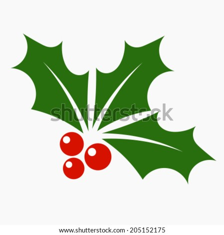 Holly berry icon. Christmas symbol vector illustration - stock vector