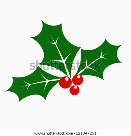 Holly berry - three leaves and fruits. Vector illustration - stock vector