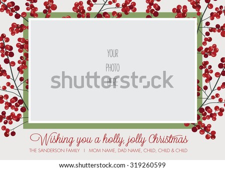 Holly Frame Photo Christmas, Holiday Card Template - Vector - stock vector