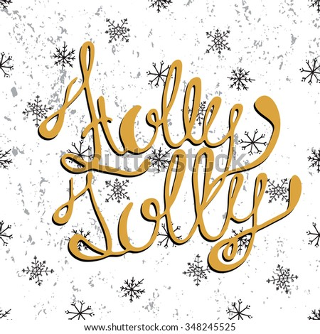 Holly Jolly - tree unique xmas design elements isolated on black background. Great design element for congratulation cards, banners and flyers. - stock vector